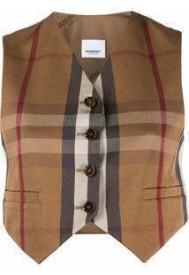 Burberry Cropped Vintage Check Waistcoat - Neutro
