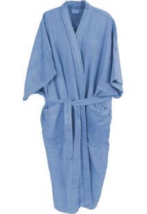 Roupão De Banho Veludo Adulto Alg. Plus Size Azul