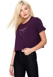 Camiseta Cropped Guess Estampada Roxa