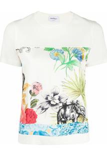Salvatore Ferragamo Blusa De Lã Virgem Com Estampa - Branco