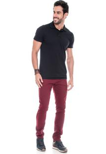 Calça Sarja Lemier Jeans Collection Slim Fit Color Vinho