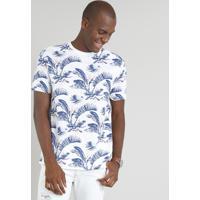 873aac1b60 Camiseta Masculina Estampada Floral Manga Curta Gola Careca Branca