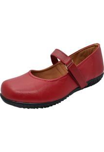 Sapato Sapatilha Boneca Fechado Confort Vermelho - Vermelho - Feminino - Dafiti