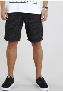 Bermuda De Sarja Masculina Reta Estampada Mini Print Preta