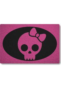 Tapete Capacho Caveira Girl - Rosa Pink