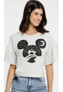 Blusa Feminina Estampa Mickey Manga Curta Sino Disney