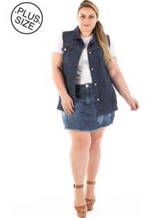 Colete Jeans Oversized Plus Size - Tricae
