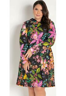 Vestido Curto Floral Com Capuz Plus Size