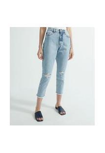 Calça Mom Jeans Liso Mom Com Perna Reta E Puídos | Marfinno | Azul | 42