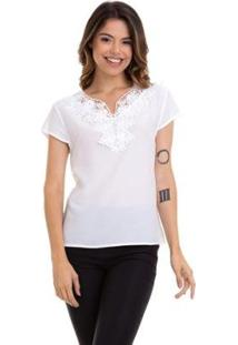 Blusa Kinara Crepe Renda Guipir No Decote Feminina - Feminino-Branco