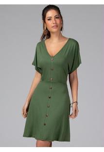 Vestido Clássico Com Botões Decorativos Verde