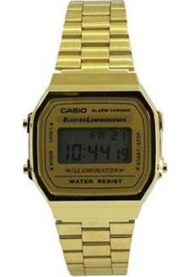Relogio Casio - A168Wg-9Wdf - Feminino-Dourado