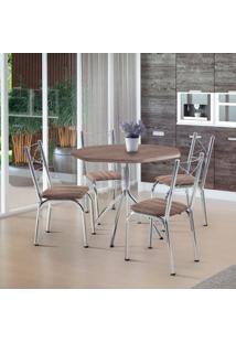 Conjunto De Mesa De Cozinha 4 Cadeiras Caribe Couro Sintético Marrom