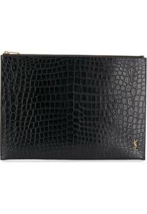 Saint Laurent Clutch Com Efeito Pele De Crocodilo - Preto
