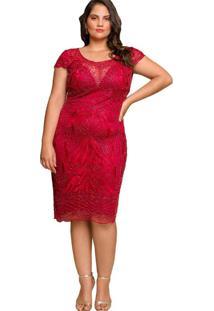 Vestido Almaria Plus Size Pianeta Tule Vermelho