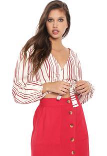 Blusa Cropped My Favorite Thing(S) Transpassada Listrada Bege/Vermelha