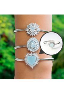 Bracelete De Coração Com Cristal Azul Leitoso Folheado A Ródio