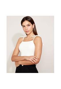 Body Feminino Mindset Alça Fina Com Laço Decote Reto Off White