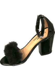 Sandália Butique De Sapatos Pelinho Preto