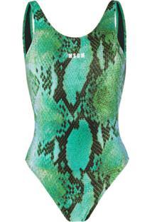 Msgm Snakeskin-Print Scoop-Back Swimsuit - Verde