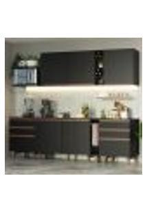 Cozinha Completa Madesa Reims 260006 Com Armário E Balcão - Preto