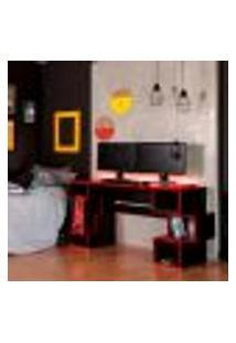 Mesa Gamer Com Led Blocks Ii Preta E Vermelha