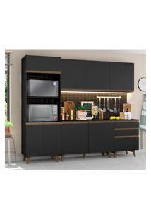 Cozinha Completa Madesa Reims Com Balcáo - 8 Portas 3 Gavetas Preto