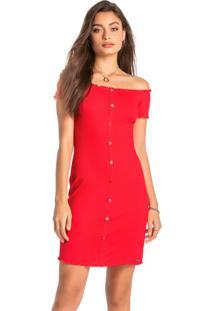 Vestido Vermelho Ciganinha Canelado