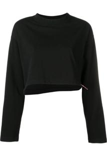 Unravel Project Blusa De Moletom Cropped - Preto