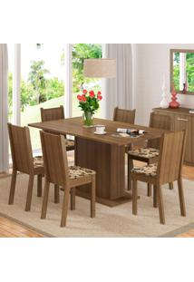 Conjunto Sala De Jantar Madesa Megan Mesa Tampo De Madeira Com 6 Cadeiras