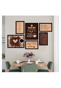 Conjunto Kit 6 Quadros Decorativos Cantinho Do Café Paz Amor Café Moldura Preta