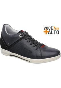 Sapatênis Rafarillo Linha Alth Você + Alto 7Cm 4703 - Masculino-Preto+Vermelho