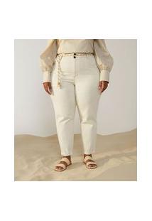 Calça Mom Em Sarja Com Cinto Corda Curve & Plus Size