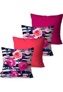 Kit Com 4 Capas Para Almofadas Pump Up Decorativas Coral Floral 45X45Cm