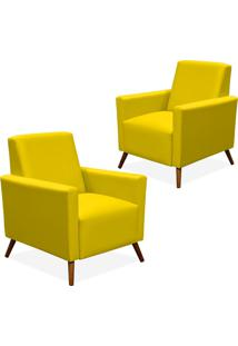Kit 02 Poltronas Decorativas Lyam Decor Liz Corino Amarelo