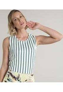 Regata Feminina Texturizada Listrada Decote Redondo Off White