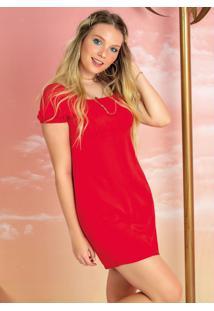 Vestido Curto Com Decote Quadrado Vermelho