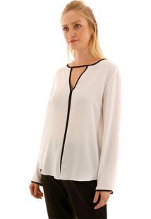 Camisa Aha Detalhe Viés Contrastante Off- White