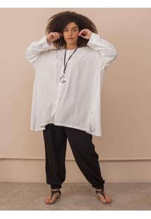 Blusa Chemise Diana Plus Size Off White-G Branco