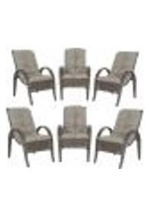Cadeiras 6Un P/ Jardim Lazer Edicula Varanda Descanso Fibra E Tramas Napoli Plus Pedra Ferro A38