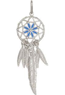 Pingente Prata Mil Prata Apanhador De Sonhos Com Resina Azul Prata