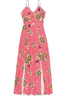 Vestido Rosa Longo Fendas & Recorte Enfim