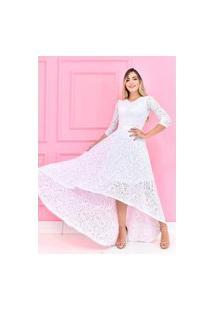 Vestido Mullet De Renda Forrado Elegante Noivado E Casamento