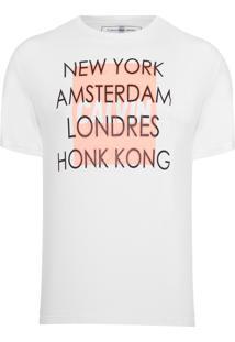 Camiseta Masculina Ckj Logo Cidades - Off White