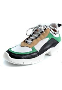 Tenis Chunky Scarpan Calçados Finos Em Couro/Tecido Multicolorido