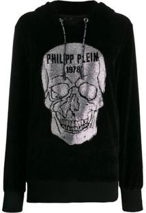 Philipp Plein Embellished-Skull Hoodie - Preto