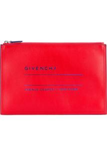 Givenchy Clutch De Couro Com Logo 'Adresse' - Vermelho