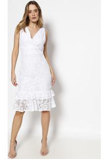 Vestido Em Renda Com Babados - Branco- Milioremiliore