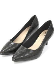 Scarpin Dalí Shoes Bico Fino Salto Fino Croco Feminino - Feminino-Preto