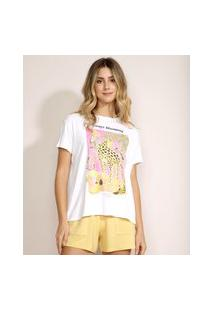 "Blusa Feminina Onça Always Blooming"" Manga Curta Decote Redondo Off White"""